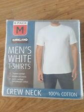 Mens White T-Shirts BRAND NEW Kirkland Size M 6 Pack 100% Cotton