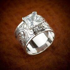 Gorgeous Wedding Women 925 Silver Rings Princess Cut White Sapphire Sz 6-10