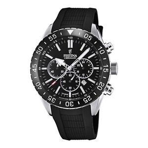 Festina F20515-2 Men's Chronograph Black Dial And Rubber Strap Wristwatch