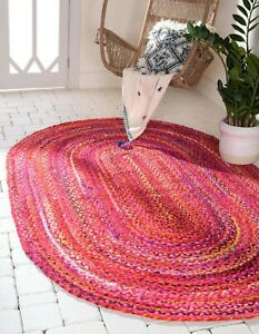 Rug 100% Cotton Natural Handmade Reversible Rug Braided style Outdoor Decor Rugs