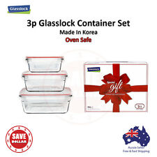 Glasslock 3P Tempered Glass Food Container Storage Microwave OVEN SAFE Gift Set