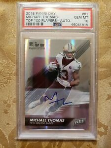 2018 Panini Day Michael Thomas Auto Psa 10 Pop 1