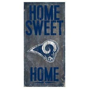 """Los Angeles Rams Home Sweet Home Wood Sign 12"""" x 6"""" [NEW] NFL Man Cave Den Wall"""