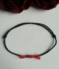 Kabbalah Lucky Black and Red Cord Bracelet 1mm  waxed cotton.