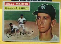 1956 TOPPS #181 BILLY MARTIN NEAR MINT!  SEE PICS NEW YORK YANKEES HOF