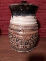 Pigeon River pottery Spekled Hand Thrown  Jar/Urn/Canister Lid Brown Glaze kerns