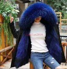 Womens Fur Collar Hooded Real Fur Lined Winter Luxury Snow Jacket Coat Parka New