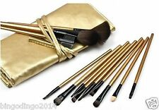 New Cosmetic Professional Makeup Brush Set - 12 Pieces with Golden Leather Pouch