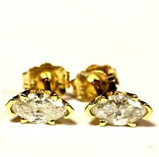 14k yellow gold SI2-I1 H .50ct marquise diamond stud earrings estate vintage