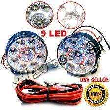 2x Car DRL 9 LED Round White Daytime Running Day Driving Bulb KIT Fog Light Lamp
