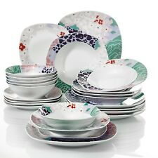 VEWEET OLINA 24-pieces Porcelain Dinner Set Tableware Dessert Plate Bowl