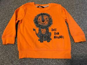 George Boys Age 2-3 Years Orange Lion Sweatshirt Jumper