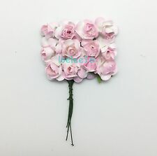 "144 mulberry mini rose paper flower lot wedding card scrapbooking 5/8"" 2 cm"