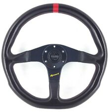 Genuine Momo Sport black leather 350mm steering wheel with horn button.    7B