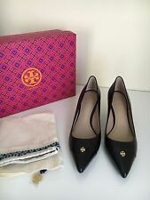 *NEW* Tory Burch 6.5 FAIRFORD Gold Logo Low Heel Pump Black Leather Pump Shoes