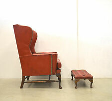 Chesterfield WING Chair Ohrensessel & Hocker // LEDER Sessel VINTAGE // 60er