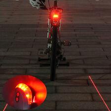 Flashing 2 Laser +5 LED Lamp Light Rear Cycling Bicycle Bike Tail Safety Warning