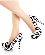 Size 9 Black White Zebra Plush Womens Shoes Stiletto Platform Pumps Heels NEW