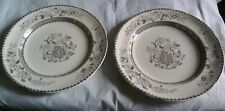 """Pair Antique Copeland Spode """"Chinese Rose"""" Brown Plates With Registration Mark"""