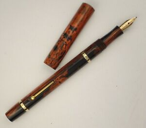 'UNIQUE' N° 39 FOUNTAIN PEN c1920s, BABY SIZE, MOTTLED HARDRUBBER