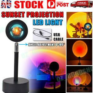 NEW LED Sun Sunset Rainbow Projector Atmosphere Light Lamp USB Home DIY Gifts