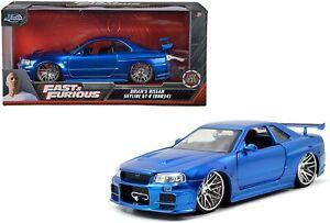 Jada Nissan Skyline GT-R R34 Brian's Blue Fast and Furious 1/24 new box