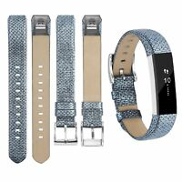 Leather Bands Adjustable Replacement Sport Strap Wrist Blue For Fitbit Alta HR