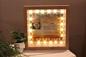 Ihr Foto beleuchtet Trauer Beerdigung LED Bilderrahmen und Wunschspruch
