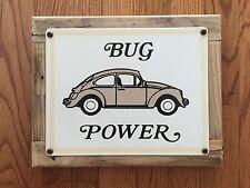 Volkswagen VW Bug Power Beetle German Auto Vintage Framed Steel & Wood Sign