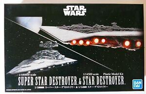 Star Wars Bandai 1/100000 Super Star Destroyer & 1/14500 Star Destroyer JAPAN