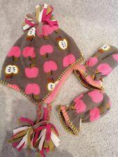 Next girls' apple print fleece cap & matching gloves 12-18-24 months (1-2 years)