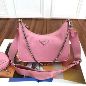 AUTH!! Prada Re-edition 2005 Begonia Pink Nylon Tessuto Shoulder Crossbody Bag