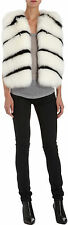 BARNEYS NEW YORK STRIPED FOX FUR VEST COAT GILET XS
