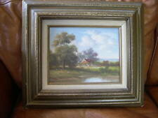 PASTORAL FARM SCENE OIL ON CANVAS LANDSCAPE SCENE BY LATE JOHN POLLINS