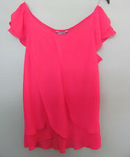 LADIES SIZE 12 - MARKS & SPENCER - BRIGHT PINK PETAL FLOATY SHORT SLEEVE TOP