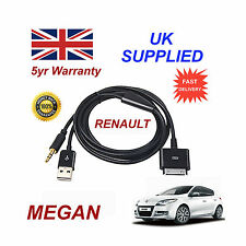 Renault Megan Audio System iPhone 3GS 4 4S iPod USB & 3.5mm Aux Cable black