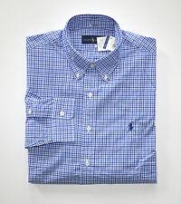NWT Men's Ralph Lauren Casual Long-Sleeve Shirt, Blue, White, L, Large