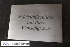EDELSTAHLSCHILD V2A 148x210mm (DIN A5-Format) - Türschild - mit WUNSCHGRAVUR