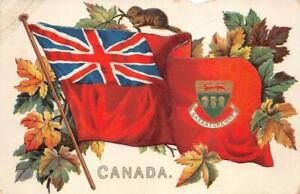SASKATCHEWAN CANADA BEAVER FLAG PATRIOTIC POSTCARD 1910