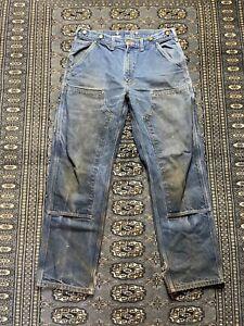 Vtg Carhartt Double Knee Work Pants Size 34x32 Workwear