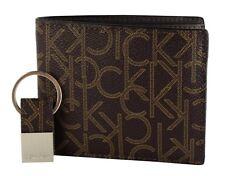 Calvin Klein Men's Ck Logo Bifold Wallet Brown Gift Box With Key Fob Set 79544
