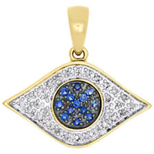 0.25 CT Diamond and Blue Sapphire Evil Eye Pendant Necklace 14k Yellow Gold Over