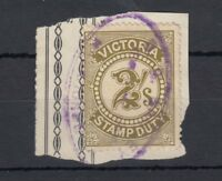Australia Victoria QV 2/- Stamp Duty Revenue On Piece J2462