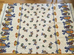 """Vintage Easter Tablecloth 40"""" x 58"""" rectangular blue ribbons painted eggs salvge"""