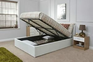 BRAND NEW 4FT6 DOUBLE GASLIFT BED WHITE COLOR OTTOMAN STORAGE RRP PRICE 189.99