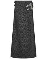 Punk Rave Mens Long Gothic Skirt Kilt Black Flocked Damask Steampunk Dieselpunk