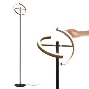 LED Floor Lamp Modern Standing Pole Light Dimmable Torchiere Touch Control Black