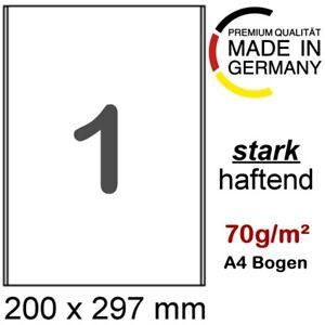 50 x 70g/m² Papier 200 x 297 mm stark klebende Haftetiketten auf DIN A4 Träger