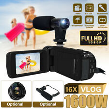 1080P HD Digital Camcorder Mic + Lens 16x Zoom Video Vlogging DV Camera Set