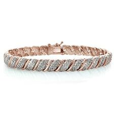 18K Rose Gold Plated Brass 1ct TDW Diamond Fancy Design Tennis Bracelet